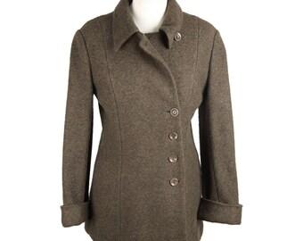 VINTAGE Military Green Wool ASYMMETRIC JACKET Size 36/4