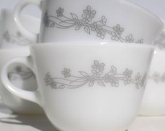 Vintage Corning  Ribbon Bouquet Tea Cups Coffee Mugs, Gray Floral on Opal Pyrex, Set of 6 Corelle Sunrise Collection Pyrex Compatibles