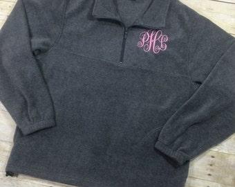 Monogram Fleece Quarter Zip | Monogram Quarter Zip Jacket | Monogram Sweatshirt | Monogram Pullover