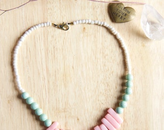 Must Have Handmade Pastel Colored Quartzite Necklace, Short Statement Jewelry, Natural Stone Gemstone Beaded Jewelry, Unique Gift for Woman