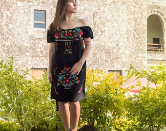 Mexican off the shoulder mini dress hand embroidered - Black 100% cotton (manta)