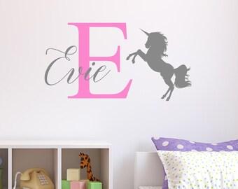 Personalised Unicorn Wall Sticker Wall Decal Childrens Kids Nursery Bedroom Playroom Vinyl