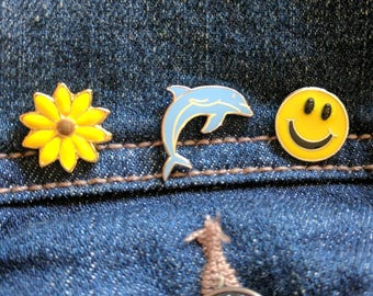 Vintage 90's mini pin set, dolphin sunflower and smiley face enamel pins