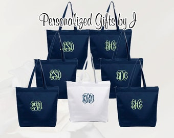 Personalized Zippered Tote Bag Bridesmaids Gifts Set of 11 Monogrammed Tote, Bridesmaids Tote, Personalized Tote