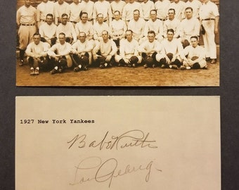"""3""""X5"""" 1927 Yankees Team Custom Made Card With Babe Ruth & Lou Gehrig Autograph (Free Ship) Read Listing For 25% OFF SALE + Extra Free Cards"""