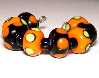 Halloween Lampwork Spacers by Cara