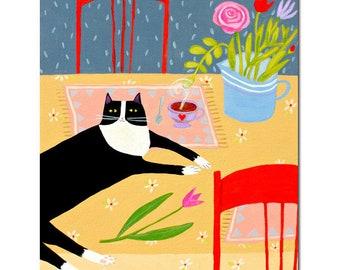 LARGE original cat painting TUXEDO cat on table with tulip Original cat folk art big painting black cat pet portrait by Tascha 20x16
