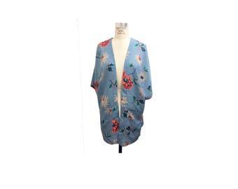 Light Blue Bright Florals Kimono with Pockets