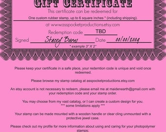 May Sale Gift Certificate for ONE Custom Rubber Stamp