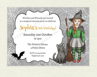 Witch Printable Invitation - Magical Birthday Party, witch with black cat and bat, Halloween party, customised digital invite - IN038