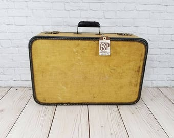 Vintage Tan and Navy Hardside Suitcase