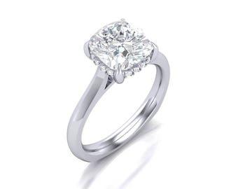 Cushion Cut Moissanite Engagement Ring - Forever One Moissanite Engagement Ring - Charles & Colvard 2ct Cushion Moissanite Solitaire Ring
