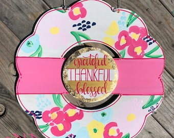 Spring floral wreath door hanger with hand painted flowers and hand lettering grateful thankful blessed