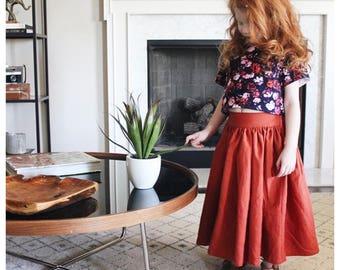 Floral Corduroy Crop Top with a Rust Linen Maxi Skirt Set