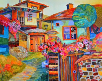 """ORIGINAL Large Mixed Media Painting Print On Canvas """"Morning In May"""" // Modern Colorist Folk Houses, Art Nouveau Village Scene FREE SHIPPING"""