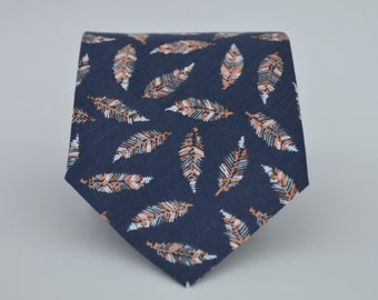 Boys Necktie Navy Blue and Peach Coral Feather Cotton