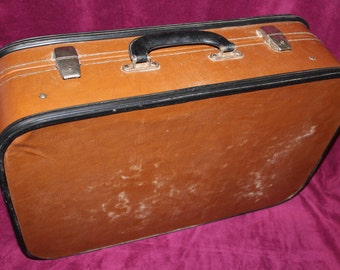 Soviet Suitcase, Antique Brown Suitcase, Vintage Travel, Hardboard Luggage, Old Luggage, Vintage Suitcase