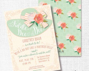 Southern Hat Shower Invitation, Printable, Southern Belle Invite, Fiddle Dee Dee, Brunch, Wedding, Baby, Luncheon, Tea Party