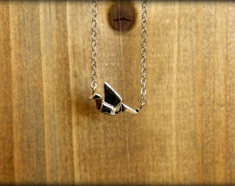 Tiny Origami Crane Necklace, Available in Silver or Gold