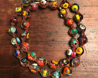 Vintage Italy Millefiori Clear Glass Bead Necklace