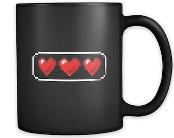 Valentines Day Mugs - Graphic Heart Black Ceramic Mug 11oz