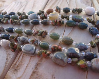Triple necklace made with Jasper