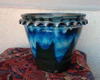 large blue green stoneware planter * 24 / 25 cm * non pierced