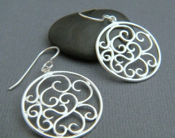large sterling silver swirl earrings filigree circle dangle spiral modern drop leverback lever back hook clasp latch simple jewelry gift.