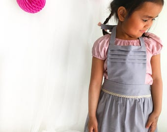 Girls pinafore, girls overall skirts in Tilda Fabric