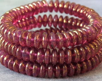 Raspberry Pink Gold Luster Czech Glass Bead 6mm Rondelle Spacer : 50 pc Pink Disc Beads