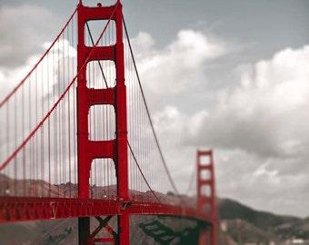 Golden Gate Bridge, Red, San Francisco Art, Gray, White, SF California, Travel Photography, San Francisco Print,