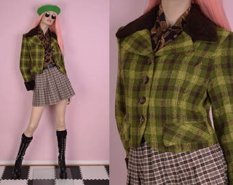 90s Green and Brown Plaid Jacket/ Small/ 1990s/ Faux fur Trim