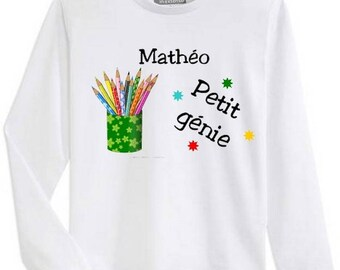 T-shirt boy long sleeve pencil jar personalized with name