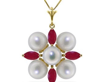 14K. solid gold  NECKLACE with RUBIES & PEARLS Rose Gold Yellow Gold White Gold