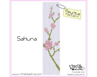 Sakura - Peyote Pattern for cuff bracelet - INSTANT DOWNLOAD pdf - Multibuy savings with coupon codes
