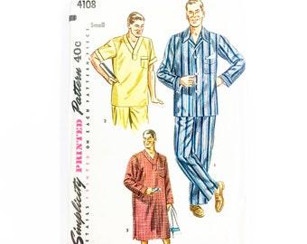 50s Mens Pajama Pattern | Simplicity 4108 Mens Lounging Pants & Top Pattern | 50s Sewing Pattern
