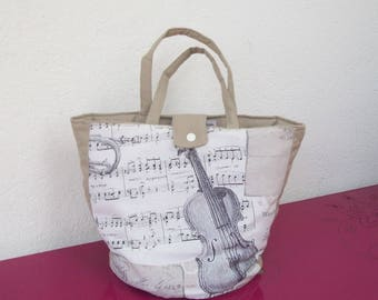 soft basket beige fabric with musical notes