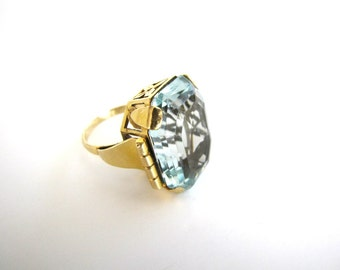 MARCH BIRTHSTONE SALE Vintage Aquamarine Ring 24 Carat 18K Gold 1930s Cocktail Ring Art Deco Aquamarine Ring from AllieEtCie