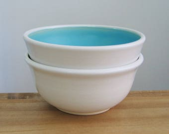 Ceramic Soup Bowls, Small Cereal Bowls in Turquoise Blue, Set of 2 Stoneware Pottery Bowls, Hand Thrown, Foodie Gift, Chef Gift