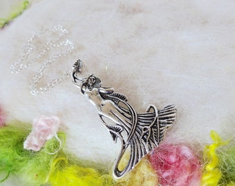 Goddess Necklace Silver Fairy Pendant Vintage Ocean Inspired Detail Pendant Enchanting Goddess Silver Chain Whimsical Jewelry Retro