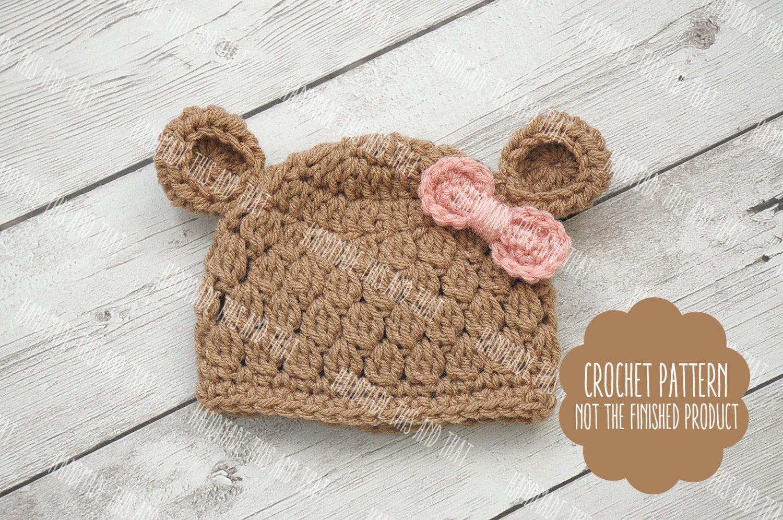 CROCHET PATTERN - baby bear hat pattern, newborn bear hat pattern ...