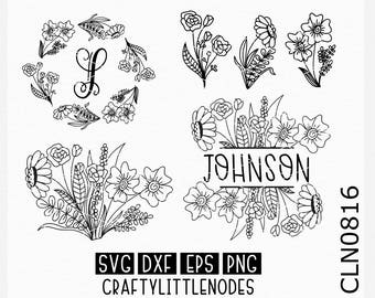 Wedding svg, Monogram svg, Monogram frame svg, split monogram svg, flower svgs, hand drawn svgs, circle monogram svg, cricut files, cutting