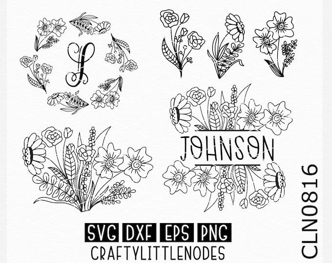 Wedding svg, Monogram svg, Monogram frame svg, split monogram svg, flower svgs, hand drawn svgs, circle monogram svg, cricut files, cutting
