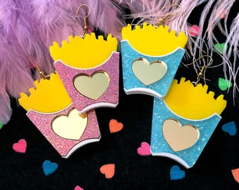 Glitter Pink or Blue French Fries Earrings, Laser Cut Acrylic, Plastic Jewelry