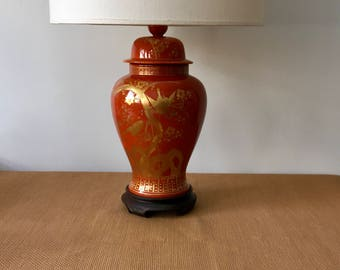 Vintage Large Orange and Gold Chinoiserie Ginger Jar Table Lamp, Bird and Cherry Blossom Motif, Wood Base, Hong Kong