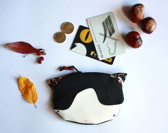 Cat coin Purse, animal change purse, handmade purse, cat purses, cat purse.
