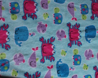 Minky Blanket Under the Sea Print Minky with Hot Pink Dimple Dot Minky Backing - Perfect Size for a Baby or Toddler