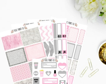 Pink & Grey Planner Sticker Kit, for use with Erin Condren, Life Planner, Stickers, Planner Stickers