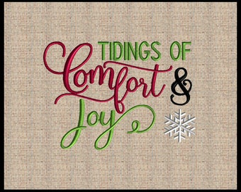 Tidings of Comfort and Joy Machine Embroidery Design Christmas Embroidery Design 3 sizes 5x7 6x8 7x9