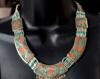Antique Necklace Turquoise & Coral,Nepal Jewelry,Tibetan Jewelry,Tribal Afghan Jewelry, Adornments regal tribal by Taneesi